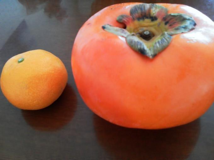 大きな柿とみかん